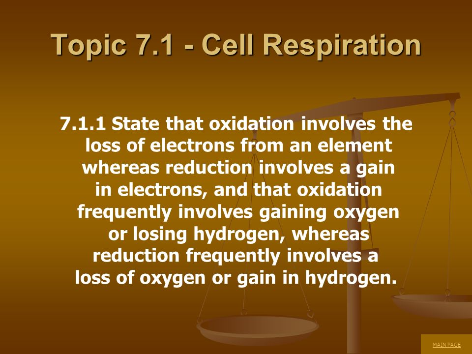 Topic Cell Respiration