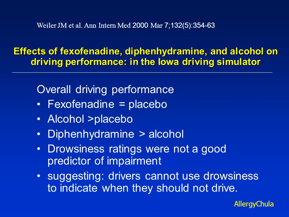 Overall driving performance Fexofenadine = placebo Alcohol >placebo