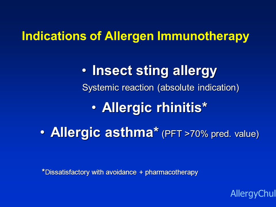 Indications of Allergen Immunotherapy