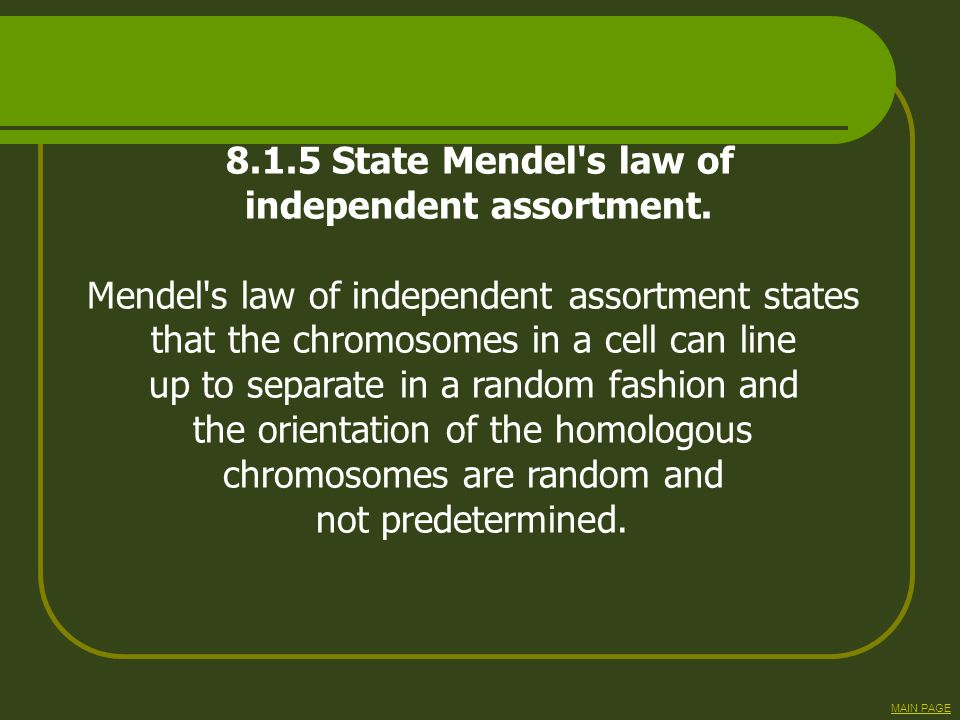 independent assortment. Mendel s law of independent assortment states