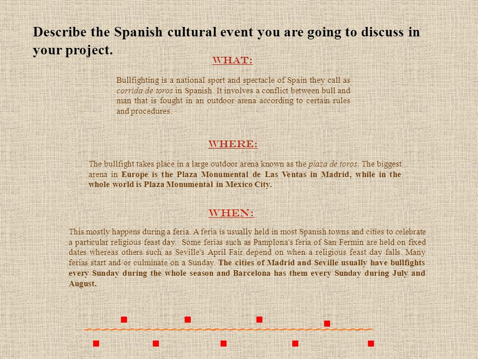 Describe the Spanish cultural event you are going to discuss in your project.