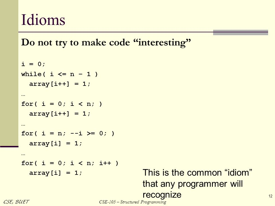 Idioms Do not try to make code interesting