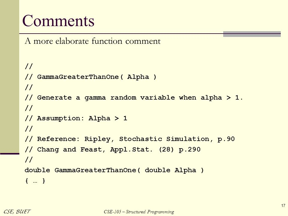 Comments A more elaborate function comment //