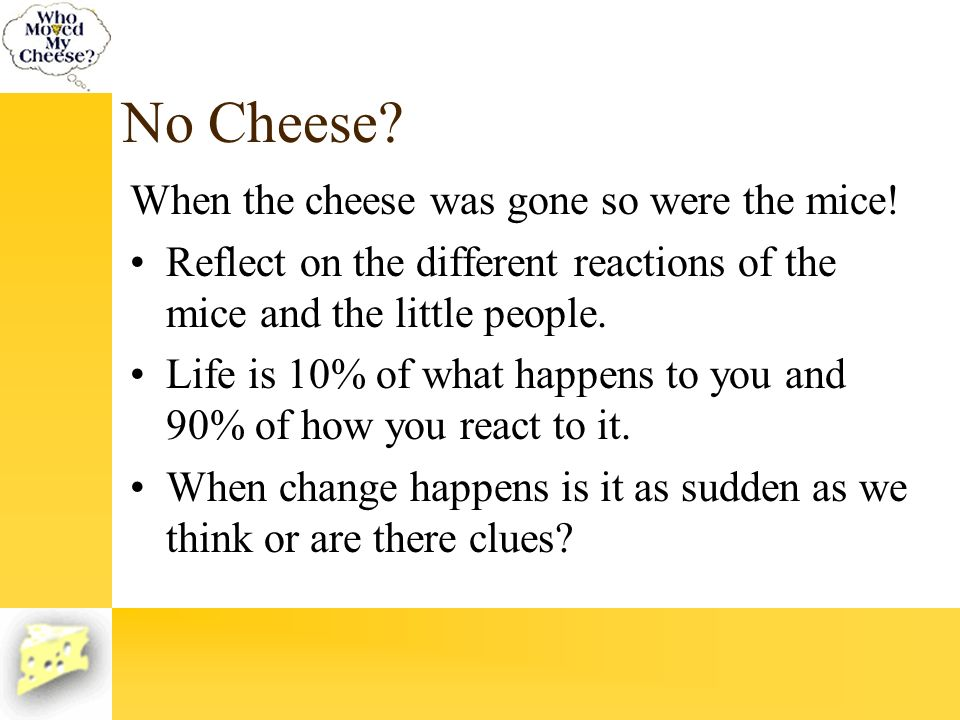 No Cheese When the cheese was gone so were the mice!