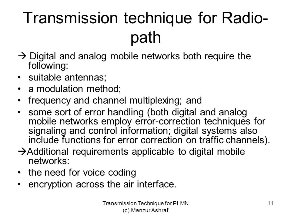 Transmission technique for Radio-path