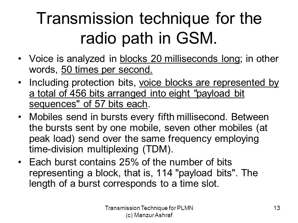 Transmission technique for the radio path in GSM.