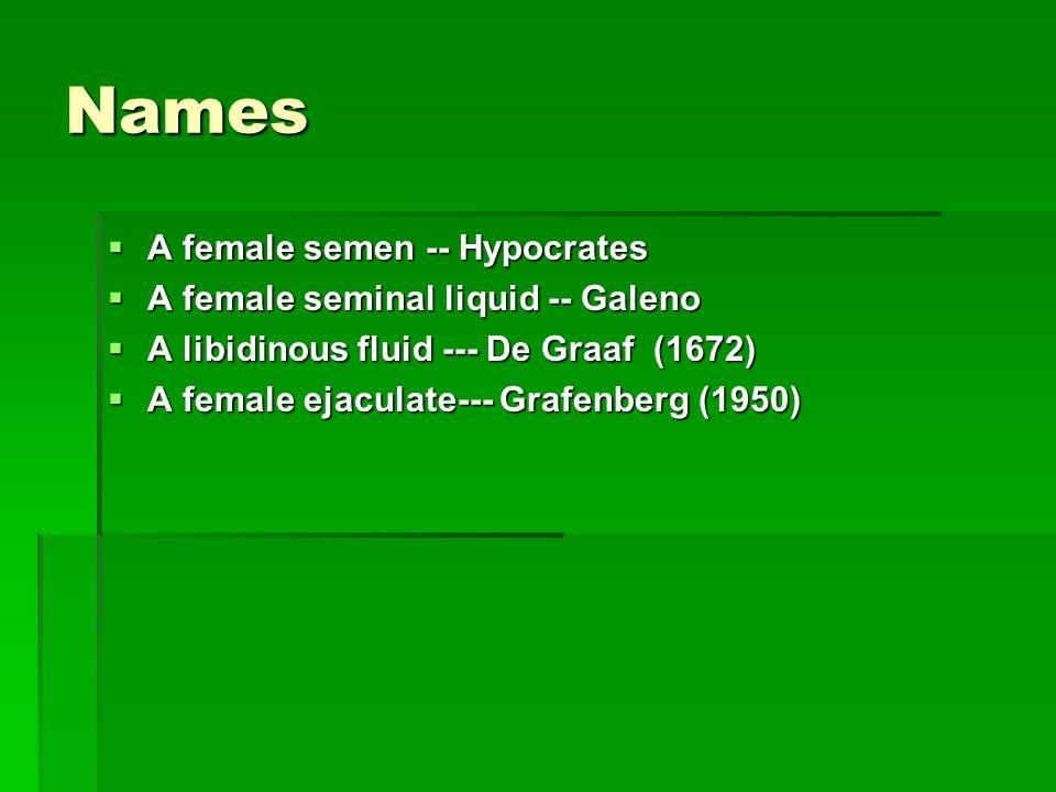Names A female semen -- Hypocrates A female seminal liquid -- Galeno