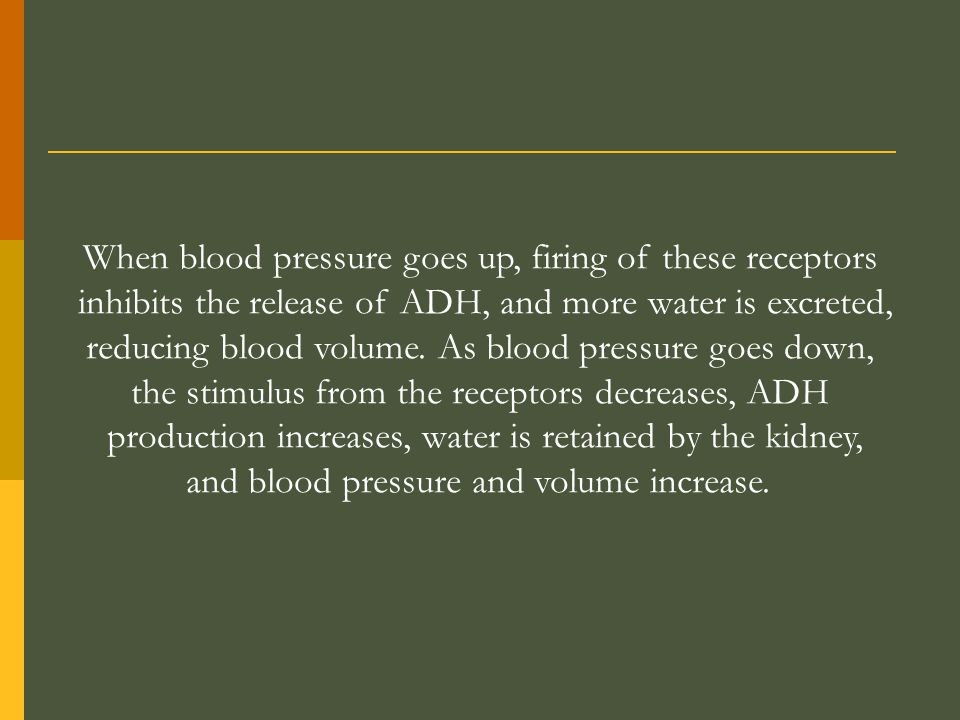 When blood pressure goes up, firing of these receptors