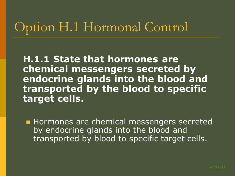 Option H.1 Hormonal Control