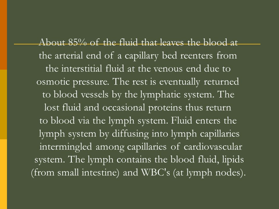 About 85% of the fluid that leaves the blood at