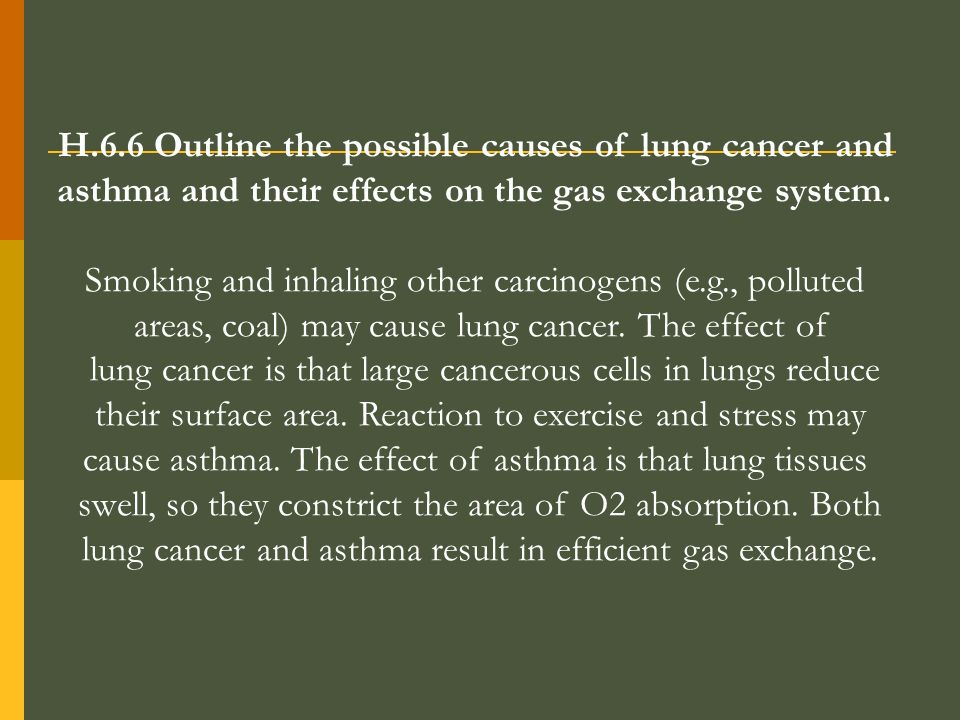 H.6.6 Outline the possible causes of lung cancer and