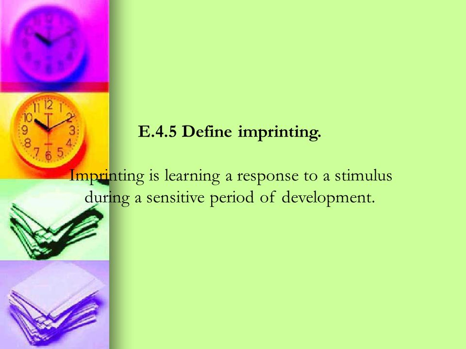 Imprinting is learning a response to a stimulus