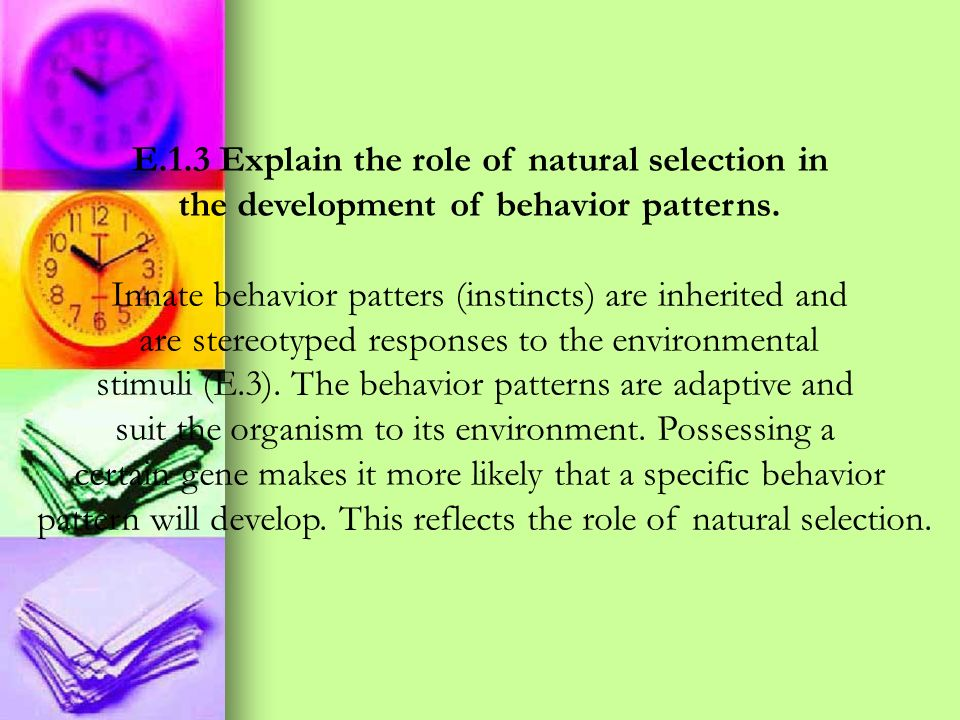 E.1.3 Explain the role of natural selection in