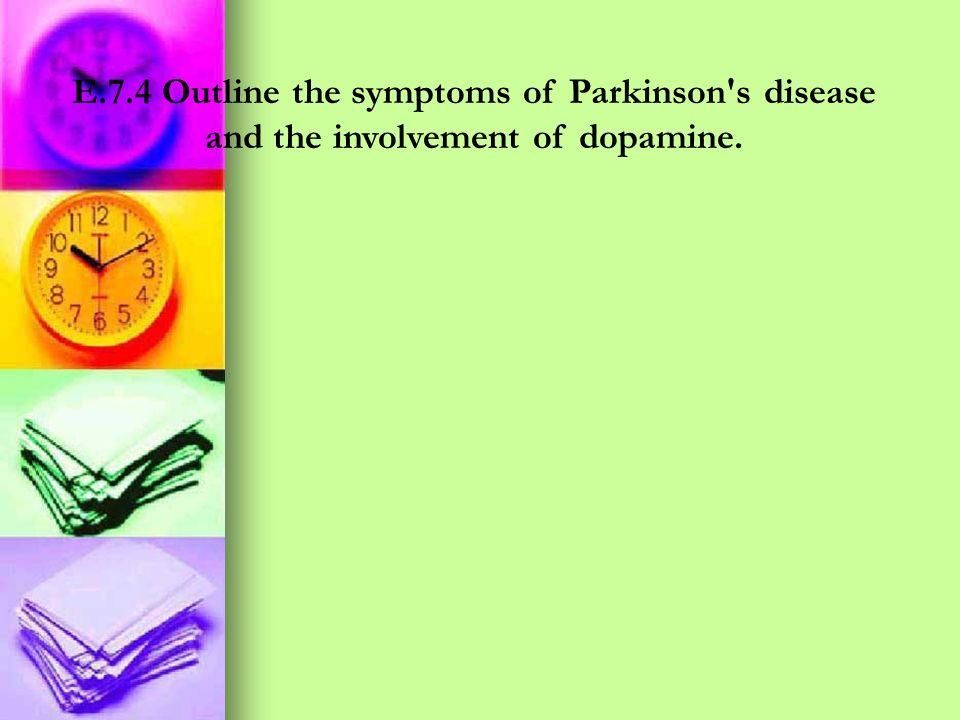 E.7.4 Outline the symptoms of Parkinson s disease