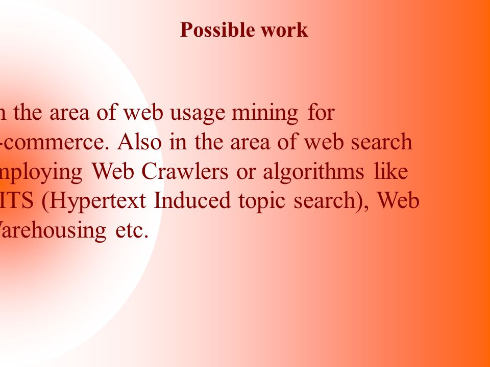 In the area of web usage mining for