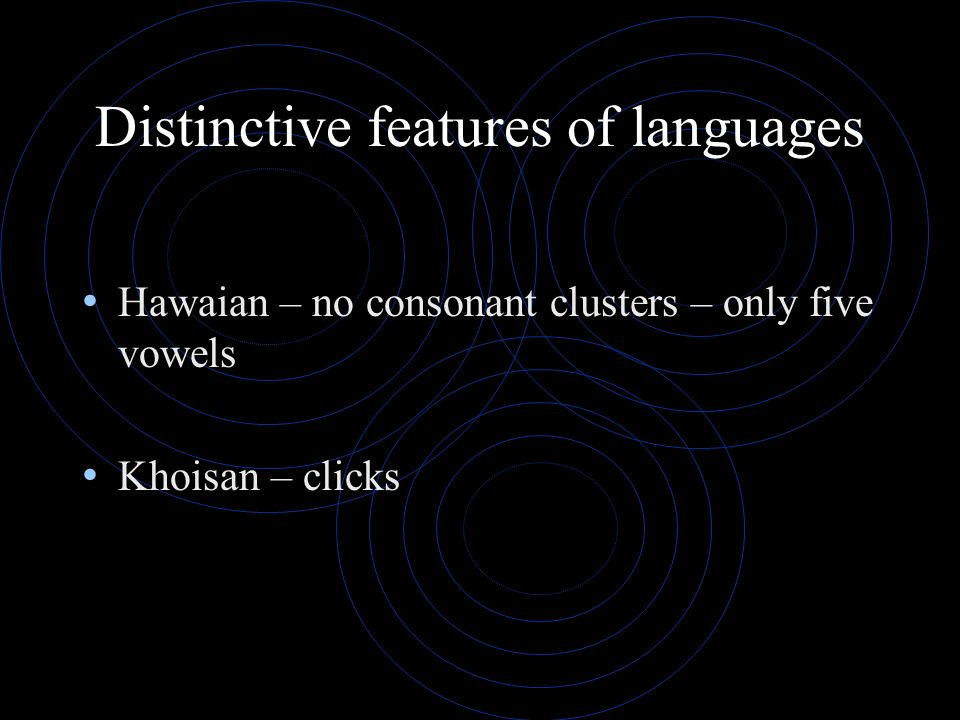 Distinctive features of languages