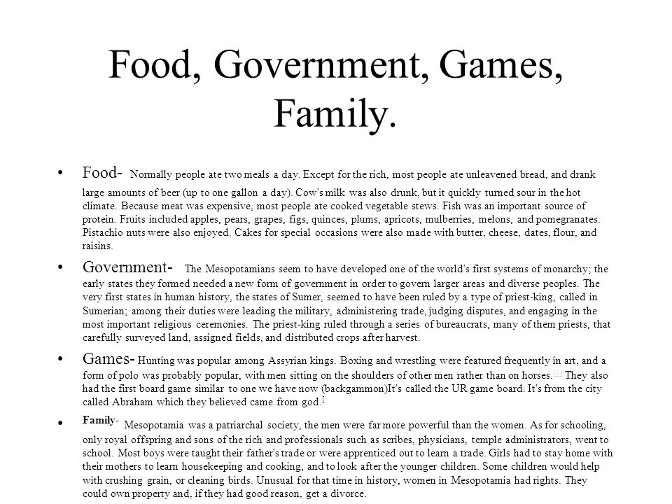 Food, Government, Games, Family.