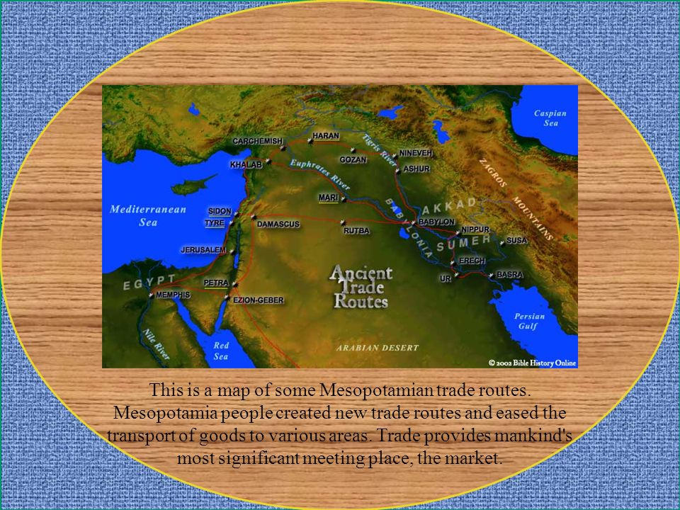 This is a map of some Mesopotamian trade routes
