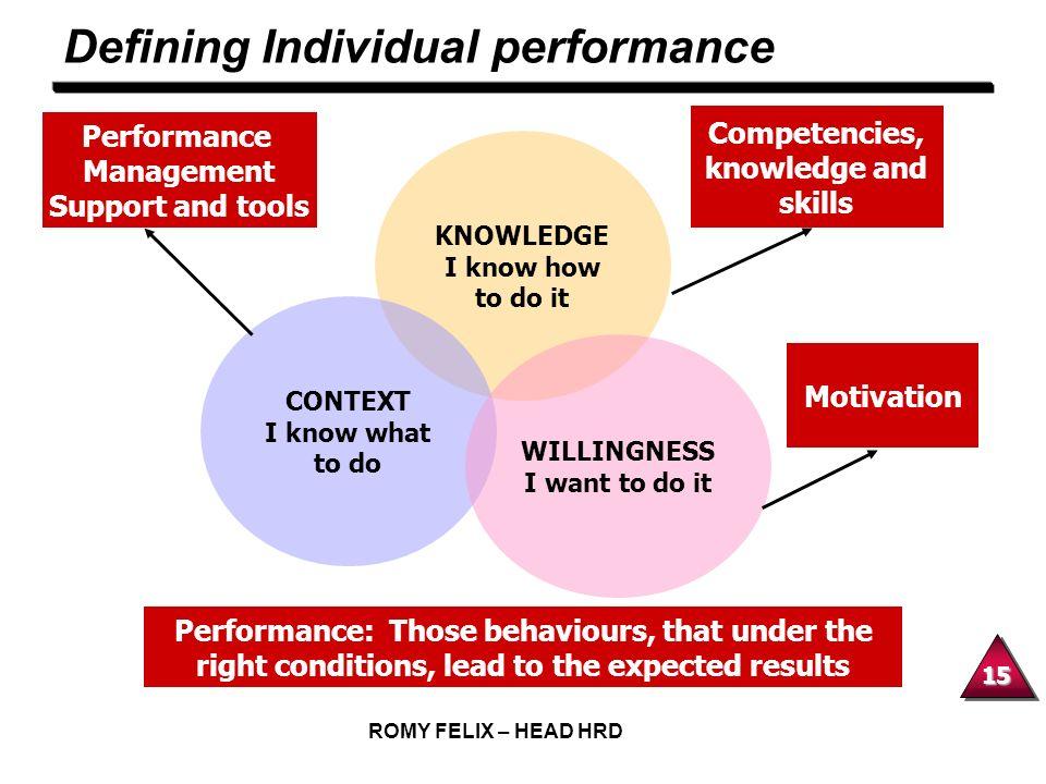 Defining Individual performance