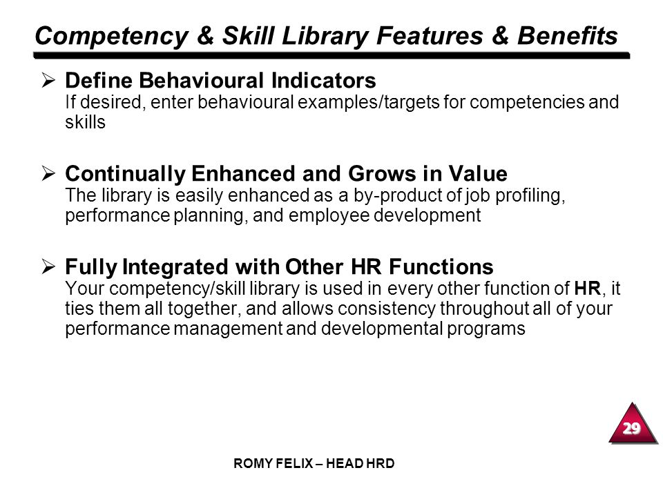 Competency & Skill Library Features & Benefits