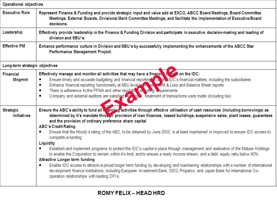 Example ROMY FELIX – HEAD HRD Operational objectives Executive Role
