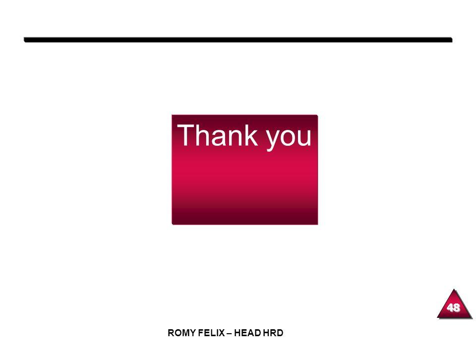 Thank you ROMY FELIX – HEAD HRD