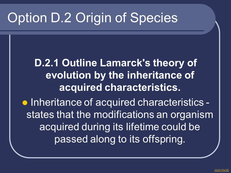 Option D.2 Origin of Species