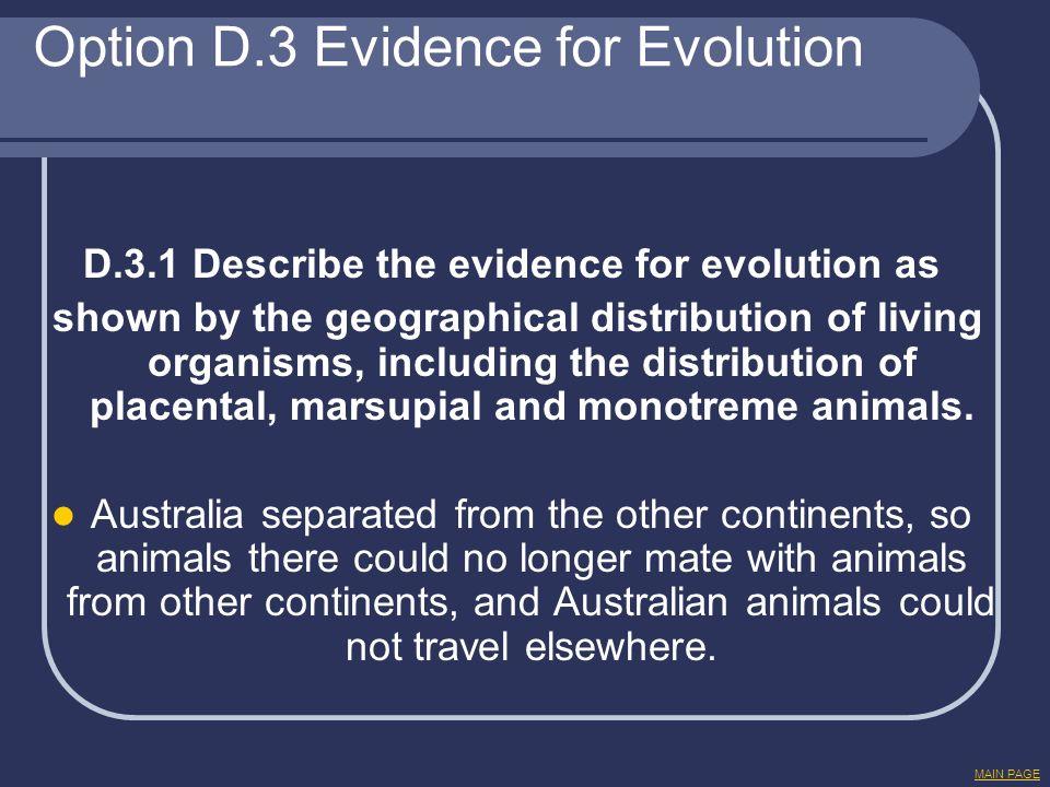 Option D.3 Evidence for Evolution