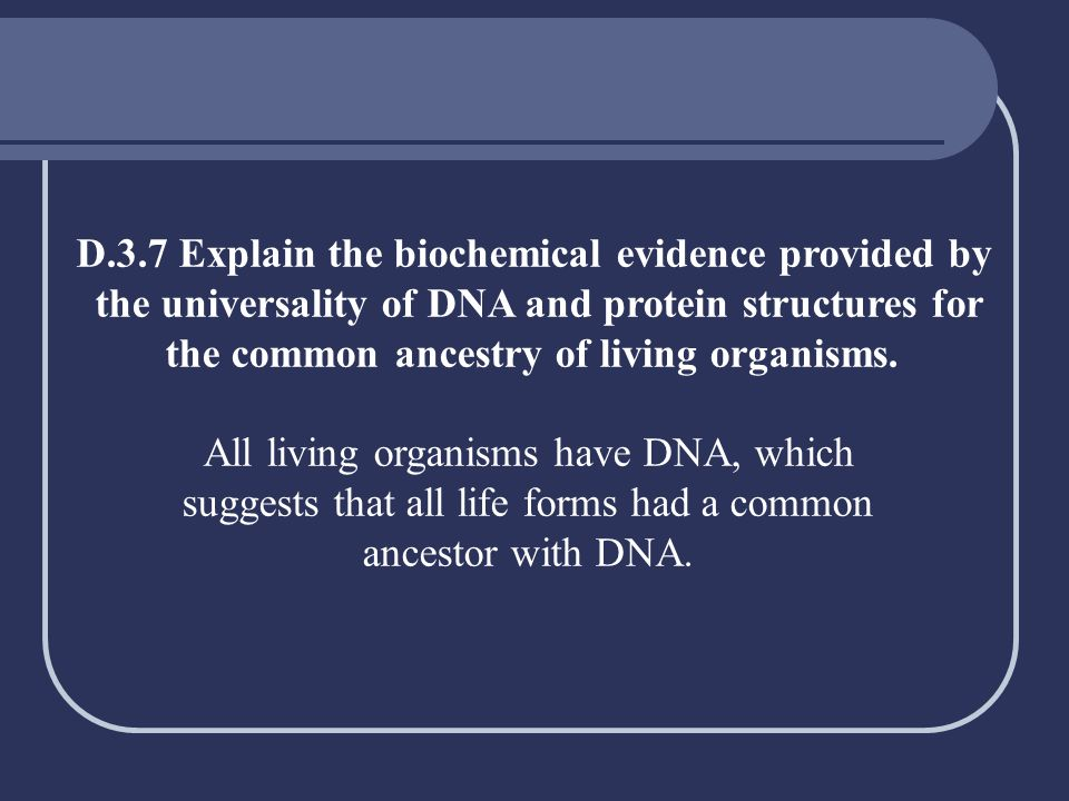 D.3.7 Explain the biochemical evidence provided by