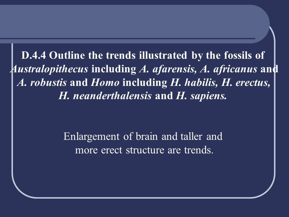D.4.4 Outline the trends illustrated by the fossils of