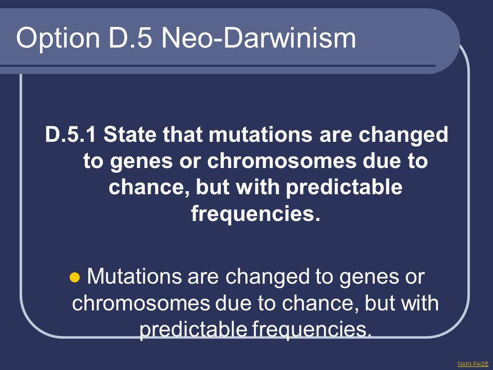 Option D.5 Neo-Darwinism