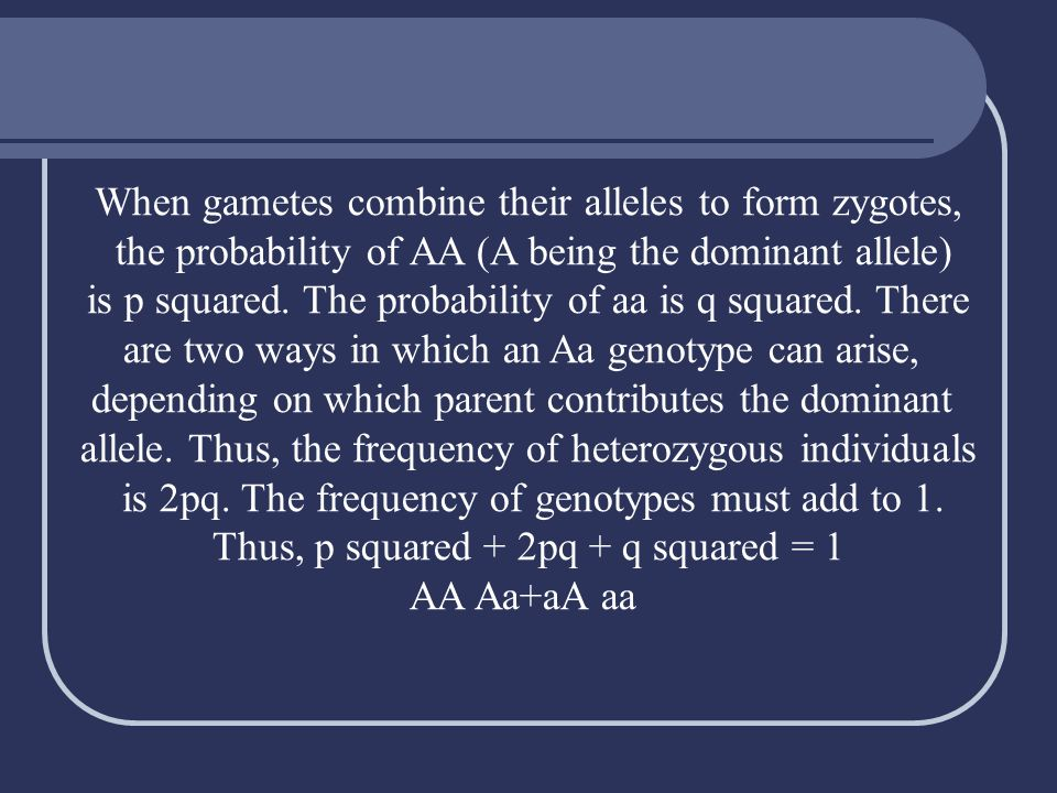 When gametes combine their alleles to form zygotes,