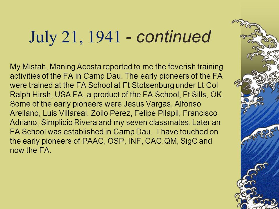 July 21, 1941 - continued