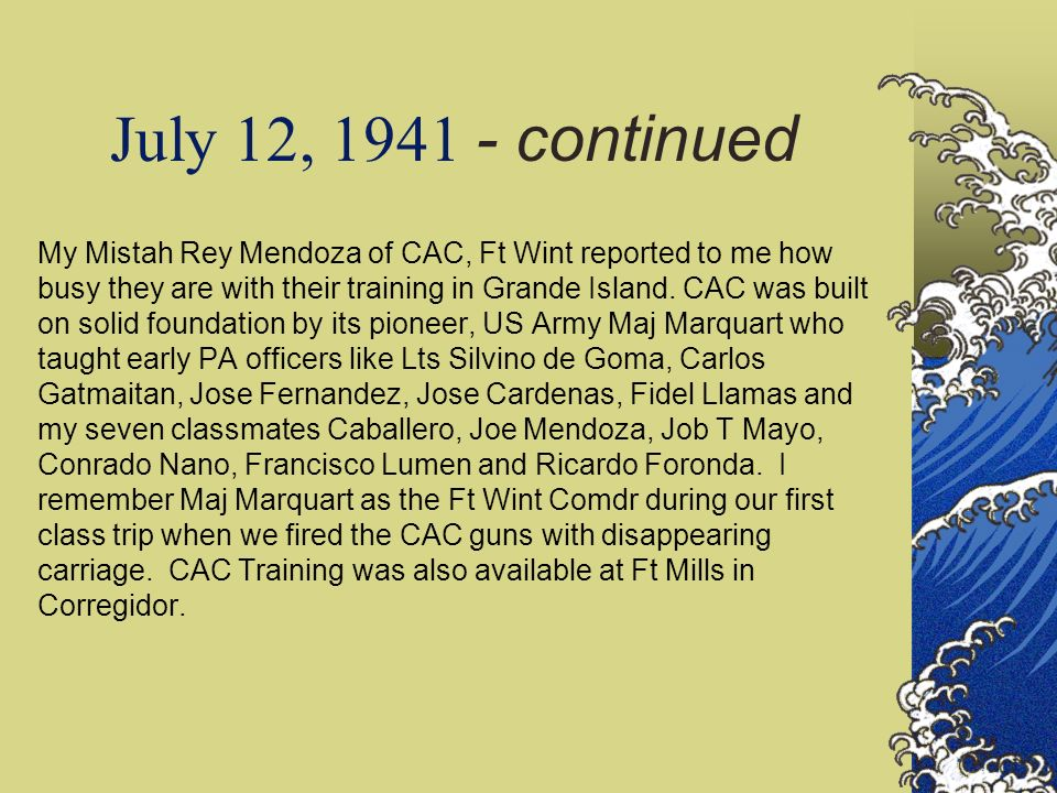 July 12, 1941 - continued