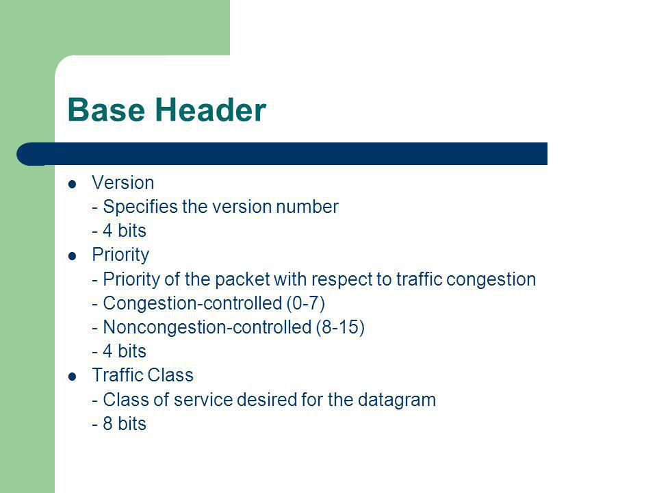 Base Header Version - Specifies the version number - 4 bits Priority