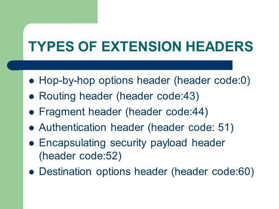 TYPES OF EXTENSION HEADERS