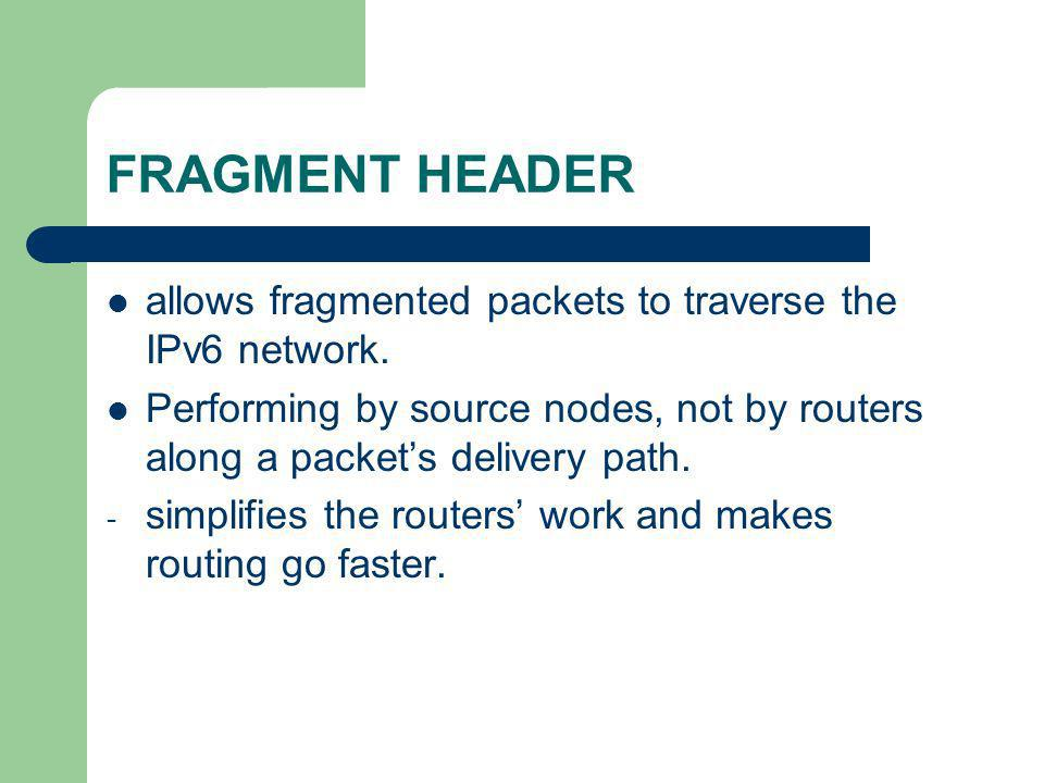 FRAGMENT HEADER allows fragmented packets to traverse the IPv6 network. Performing by source nodes, not by routers along a packet's delivery path.