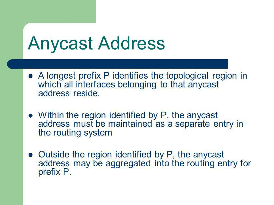 Anycast Address A longest prefix P identifies the topological region in which all interfaces belonging to that anycast address reside.