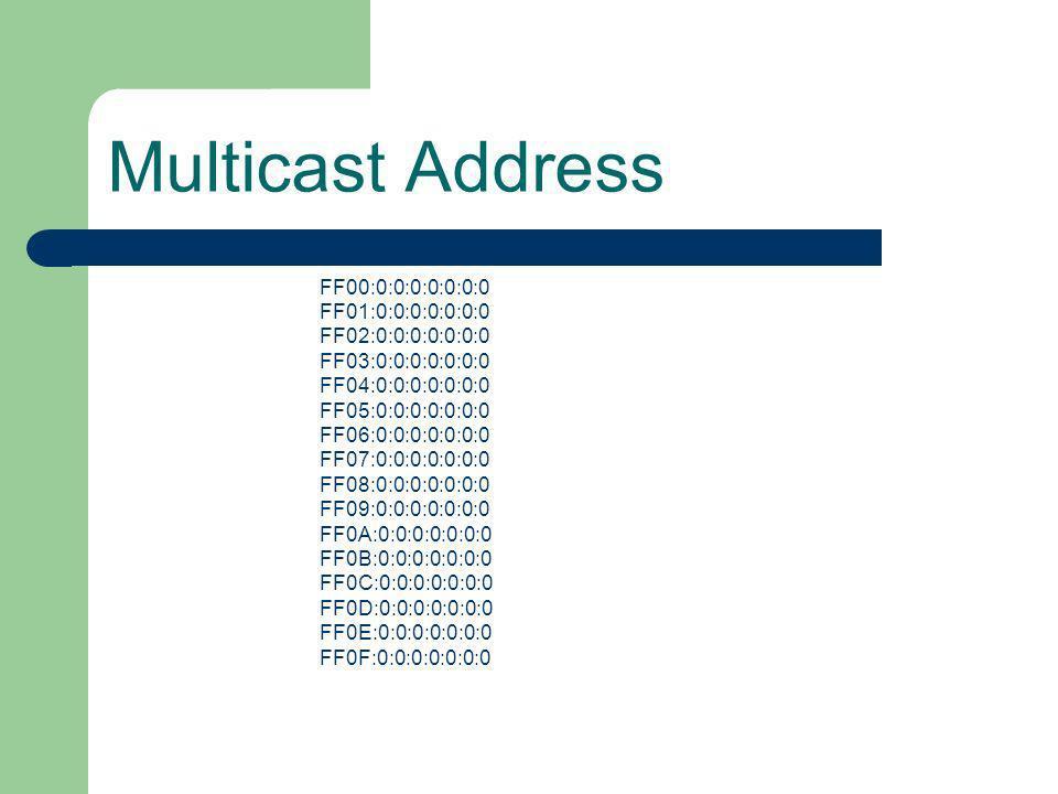Multicast Address FF00:0:0:0:0:0:0:0 FF01:0:0:0:0:0:0:0