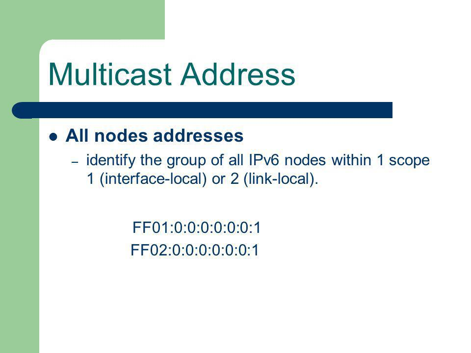 Multicast Address All nodes addresses
