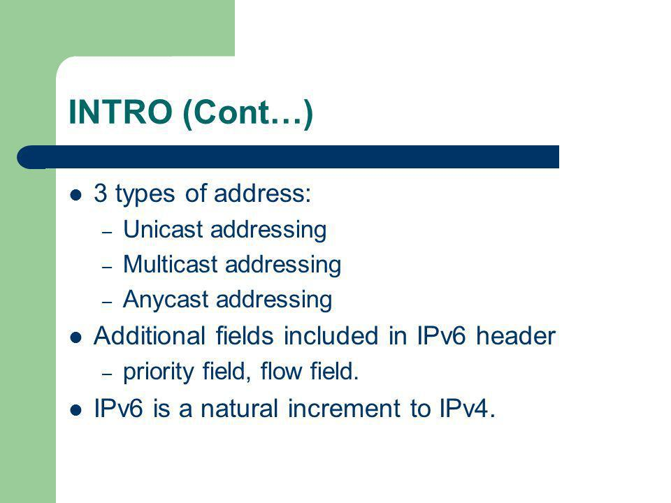 INTRO (Cont…) 3 types of address: