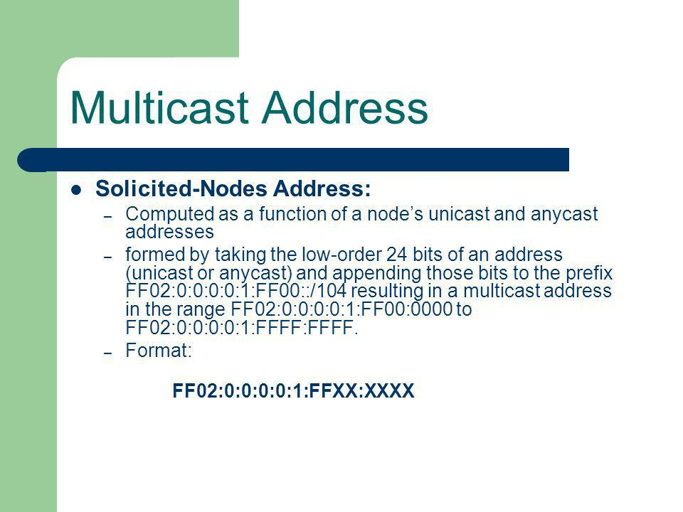 Multicast Address Solicited-Nodes Address: