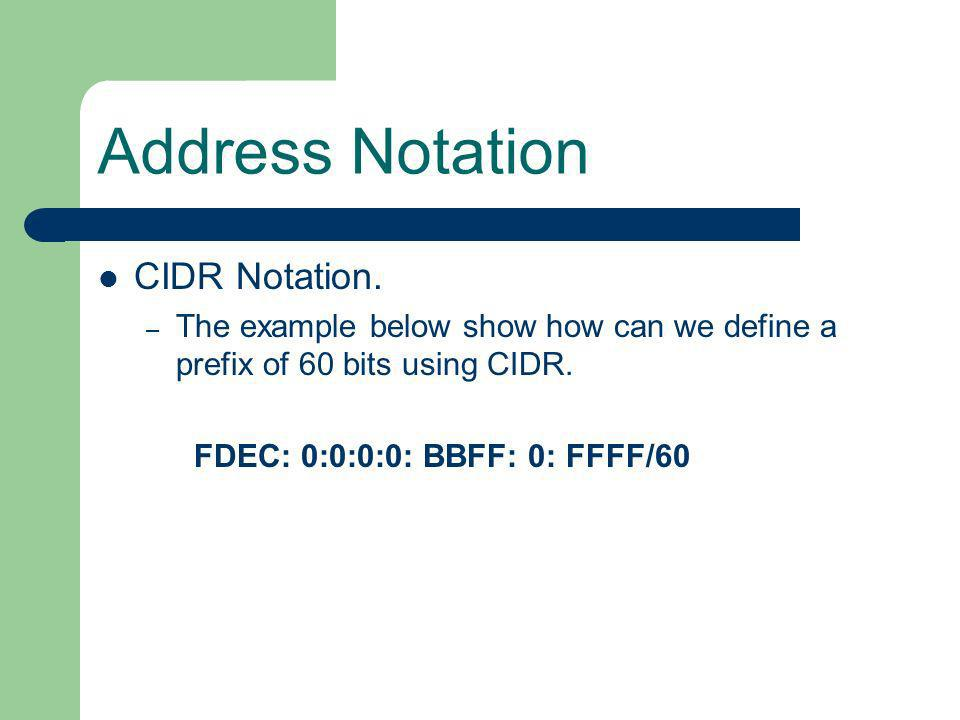 Address Notation CIDR Notation.