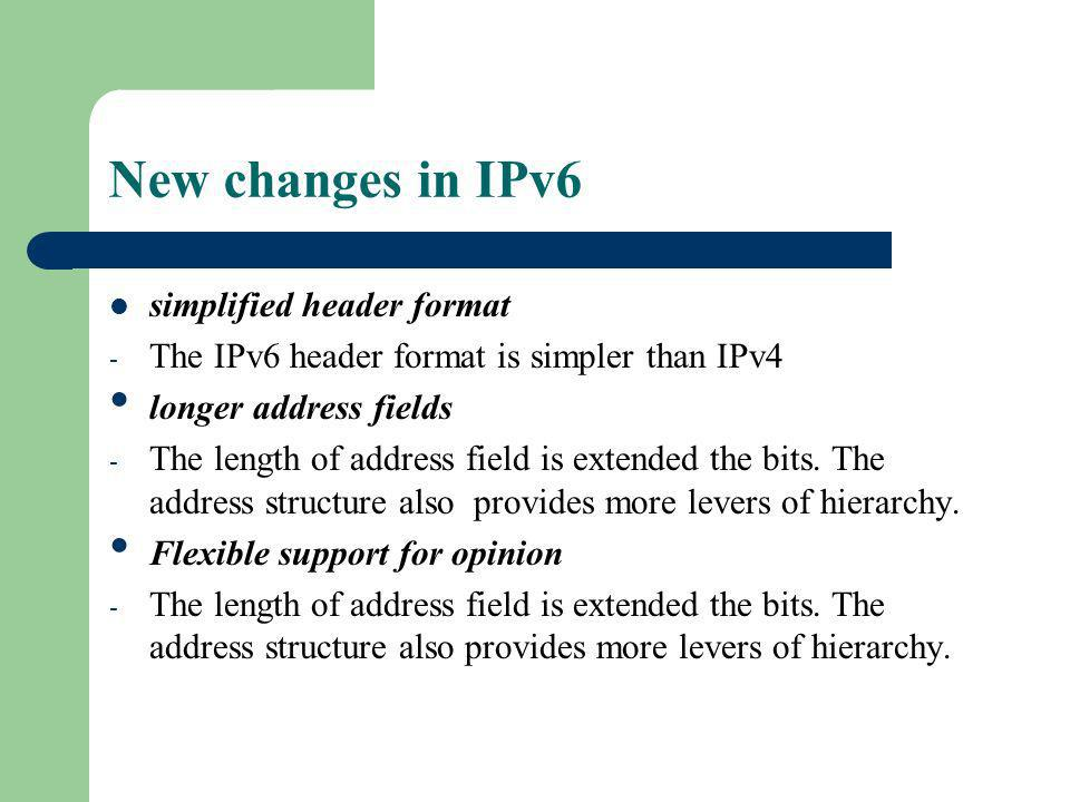 New changes in IPv6 simplified header format