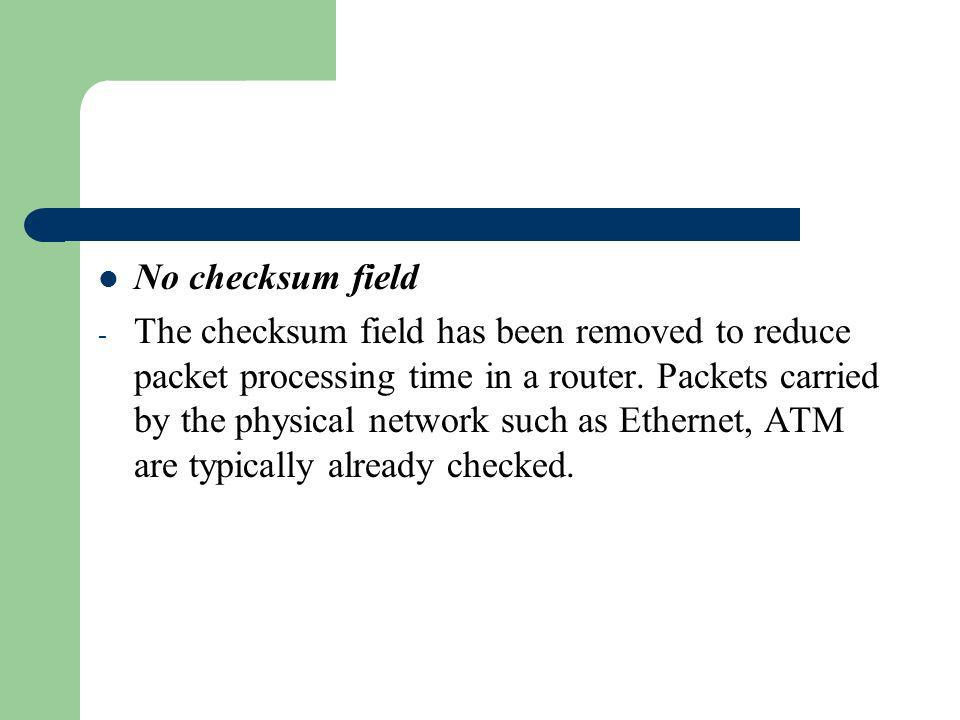 No checksum field