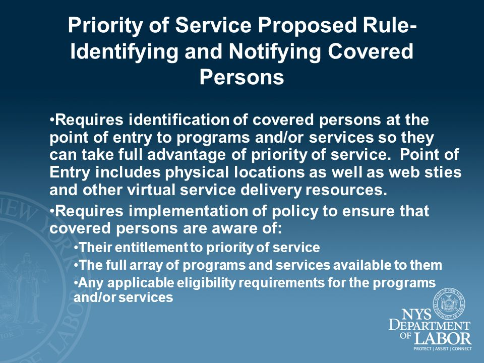 Priority of Service Proposed Rule-Identifying and Notifying Covered Persons