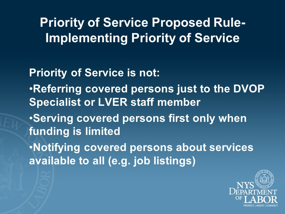 Priority of Service Proposed Rule-Implementing Priority of Service