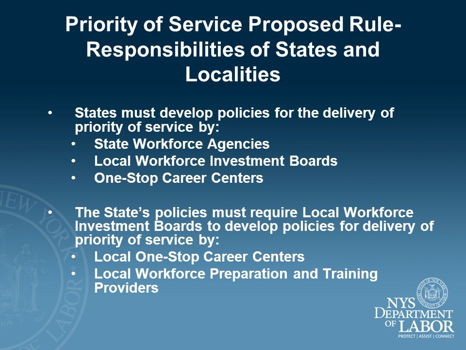 Priority of Service Proposed Rule-Responsibilities of States and Localities