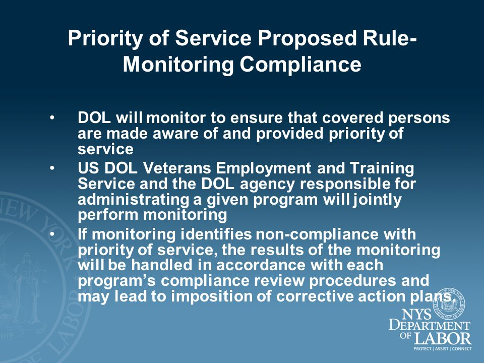 Priority of Service Proposed Rule- Monitoring Compliance