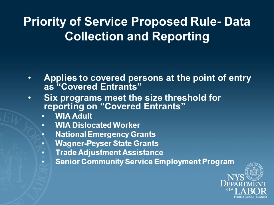 Priority of Service Proposed Rule- Data Collection and Reporting